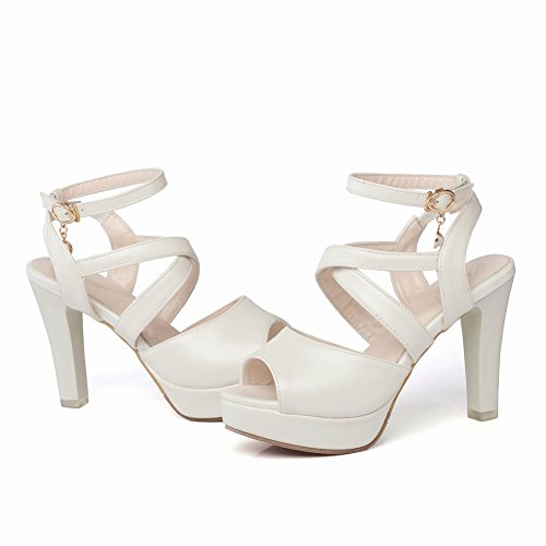 Mee Shoes Damen High Heels Plateau Slingback Sandalen Weiß