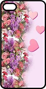 Pink Hearts & Flowers Be My Valentine Black Plastic Case for Apple iPhone 4 or iPhone 4s
