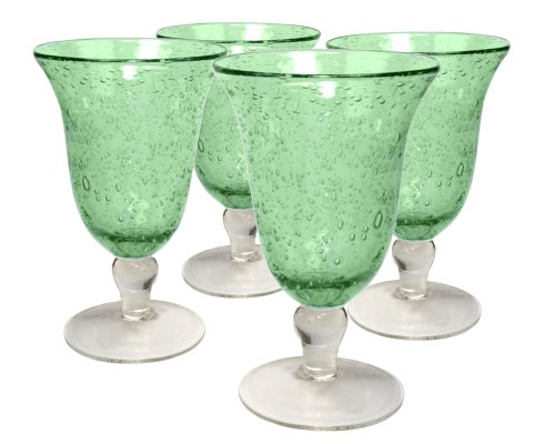 Artland Iris Footed Ice Tea Glasses, Light Green, Set of 4