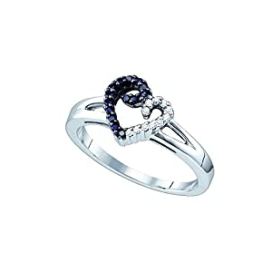 Size 9 - 925 Sterling Silver Channel Set Round Cut Black and White Diamond Engagement Ring OR Fashion Band - Heart Shape Center Setting - (1/6 cttw.)