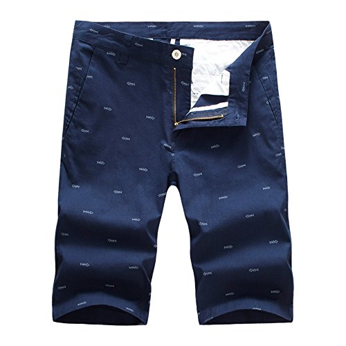 dextrad Cool Fashion Printed Men Summer Short Pants Straight Trousers 28-40 Navy Chinese Size 30 ()