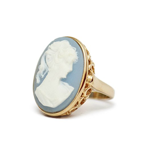 - Providence Vintage Jewelry Blue Cameo Ring 18k Yellow Gold Electroplated