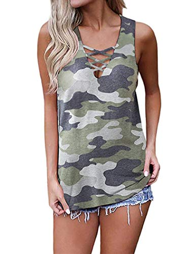 Camo Cami - GOCHIC Women's Criss Cross Casual Cami Shirt Sleeveless Tank Top Camo Striped Lace up Blouse #4Army Green S