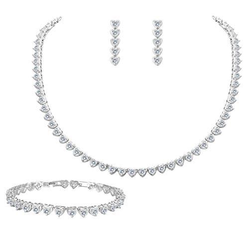 EleQueen Women's Silver-tone Full Cubic Zirconia Love Heart Bridal Necklace Set Tennis Bracelet Dangle Earrings Clear - Tennis Jewelry Set