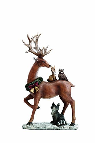 (Standing Reindeer with Woodland Animals 13.5 Inch Resin Christmas Tabletop Figurine)