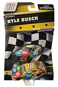 NASCAR Authentics Kyle Busch #18 Diecast Car 1/64 Scale - 2018 Wave 2 - Kyle Busch 2018 N0. 18 with Die-Cut Magnet - Collectible - 18 Die Cast Car