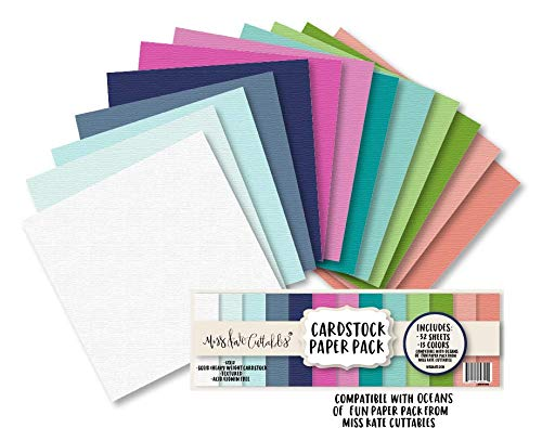 Cardstock Paper Pack - Oceans of Fun - 32 Sheets Solid Core Textured - Custom Colors Matched for Our Designs - Card Making Crafting Scrapbook - by Miss Kate Cuttables (Textured Solid Cardstock)