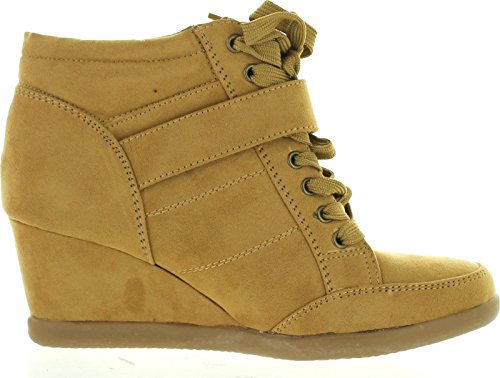 Forever Womens Peggy-51 Hot Fashion Lace Up Wedge Sneakers Casual Shoes,Tan,9