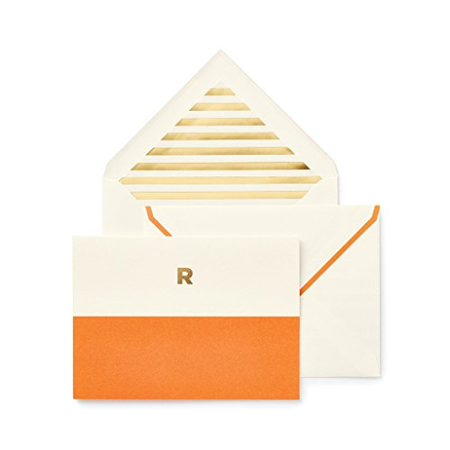 Orange Fold Over Note (Kate Spade Dipped Initial Fold over Notes, R, Orange (1740R))