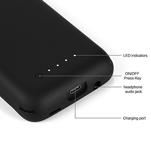 Galaxy S8 Battery Case5000mah mobile External Backup Charging predicament Charging Battery Pack for Samsung S8 Rechargeable Extended vitality Bank predicament Black External Battery Packs