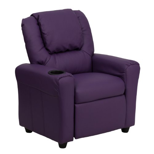 MFO Contemporary Purple Vinyl Kids Recliner with Cup Holder and Headrest
