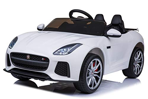 - First Drive Jaguar F-Type White 12v Kids Cars - Dual Motor Electric Power Ride On Car with Remote, MP3, Aux Cord, Led Headlights and Rear Lights, and Premium Wheels
