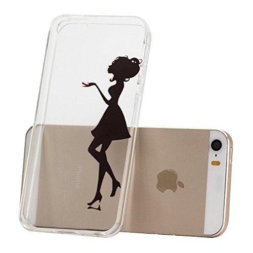 iPhone 5C Coque , YIGA Noir Sexy Femme Transparent 3D Crystal TPU Silicone Doux TPU Case Cover Housse Etui pour Apple iPhone 5C