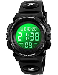 Kid Watch for Boy Girl Child Multi Function Digital LED Sport 50M Waterproof Electronic Analog Quartz Watches Gift Black White