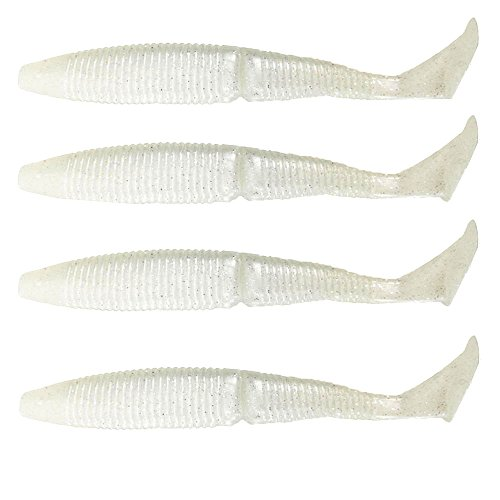 Paddle Tail Shad Lures swimming Heavy Soft Bait Jointed Wiggle for Bass Big T Tail Soft Lure 140mm 17g Open Hook Fishing Bait Fishing Shad Fishing Worm Swimbaits Jig Head (Pearl - Shad Head