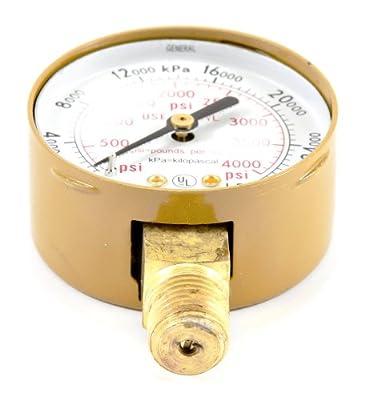 Forney 87727 Oxygen Gauge, High Pressure, 2-Inch-by-1/4-Inch NPT, 0-4000 PSI