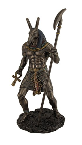 Resin Statues Ancient Egyptian Jackal God Anubis Bronze Finished Statue 5 X 10 X 4.5 Inches (Egyptian Jackal Statue)