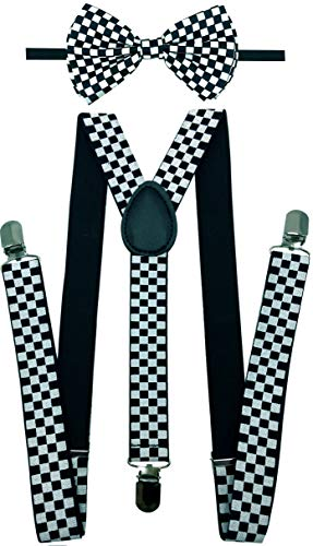 CD Gold Suspender with Matching Metalic, Champagne, Sequined Bowtie Set (Checkered Black and White) (Boys Checkered Suspenders)