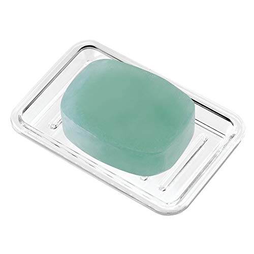 InterDesign Plastic Bar Soap Dish for Bathroom Sink or Shower – Ridged Soap Saver Design