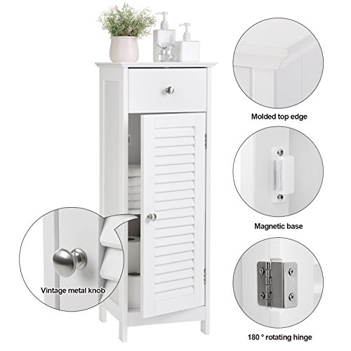 SONGMICS Bathroom Floor Cabinet Storage Organizer Set with Drawer and Single Shutter Door Wooden White UBBC43WT by SONGMICS (Image #4)