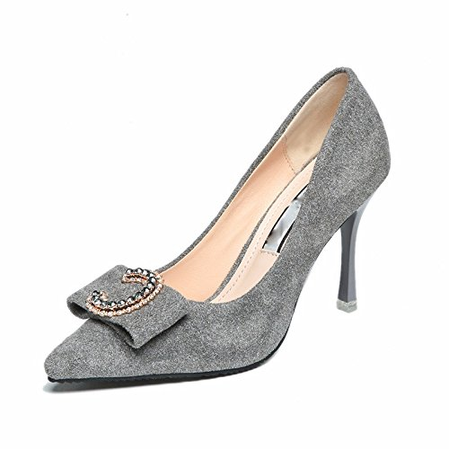 Fine Metal Shoes Suede 9Cm Bows seven Heels Heels Banquets Women'S Sharp Heels Thirty Fine HGTYU Buckles Single UqzHABpx7
