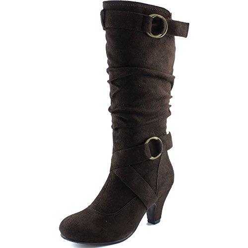 """Dailyshoes Damen Slouchy Mid Calf Riemchen Stiefel mit Knöchel und Top Straps - 2 """"Heel Fashion Boots Braunes Wildleder"""