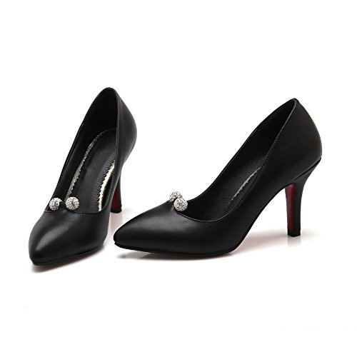 AllhqFashion Mujeres Tachonado Sin cordones Tacón de aguja De salón con Diamante de Imitación Negro