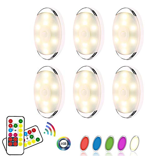 LEASTYLE Wireless Color Changing LED Puck Lights with Remote Controls,LED Under Cabinet Lighting,Battery Operated Lights,Closet Light, Under Counter Lighting,6 Pack