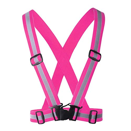 Safety Reflective Vest Sports Gear | Lightweight, Adjustable & Elastic | Safety & High Visibility for Running, Jogging, Walking, Cycling | Fits Over Outdoor Clothing - Motorcycle Jacket/Gear (Pink) (Reflector Pink Vest)