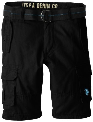 U.S. Polo Assn. Big Boys' Ripstop 6 Pocket Cargo Short with Belt, Black, 18