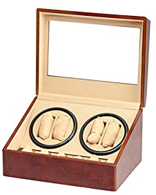 BRAND NEW BURL WOOD 4+6 AUTOMATIC QUAD WATCH WINDER 6 DISPLAY STORAGE BOX CASE