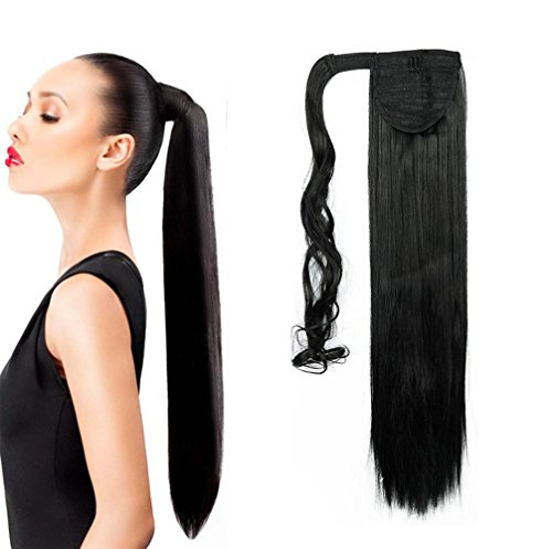 Ponytail Wrap Around Synthetic Clip in Hair Extensions One Piece Magic Paste Pony Tail Long Straight Soft Silky for Women Fashion and Beauty 26'' / 26 inch Dark Black