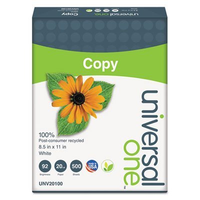 100% Recycled Copy Paper, 92 Brightness, 20lb, 8-1/2 x 11, White, 5000 Shts/Ctn, Sold as 10 Ream
