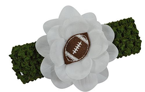 Baby Embroidered Felt Football Team Flower Headband Fits Newborns to Toddlers (Hunter Green Band/Brown Ball)