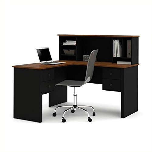 Brown Tuscany Executive Desk - Somerville Compact LShaped Desk with Hutch Tuscany Brown Top/Black Base
