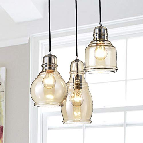 Jojospring Mariana Cognac Glass Cluster with Chrome and Round Base 3-Light Pendant Chandelier