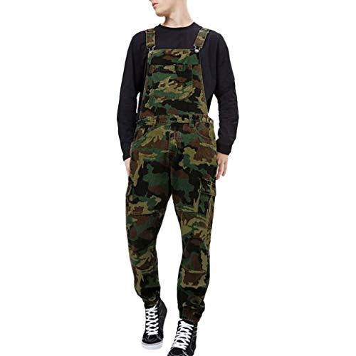 Houshelp Men's Hunting Bib Overalls Camo Patterns Denim Fabric Autumn Slim fit Suitable for Running Mountain ()