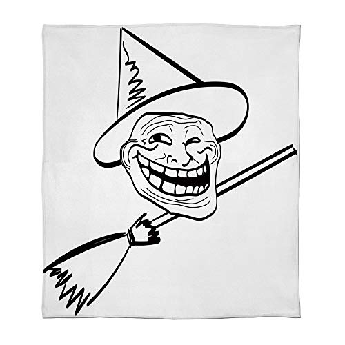 YOLIYANA Lightweight Blanket,Humor Decor,for Bed Couch Chair Fall Winter Spring Living Room,Size Throw/Twin/Queen/King,Halloween Spirit Themed Witch Guy Meme LOL]()