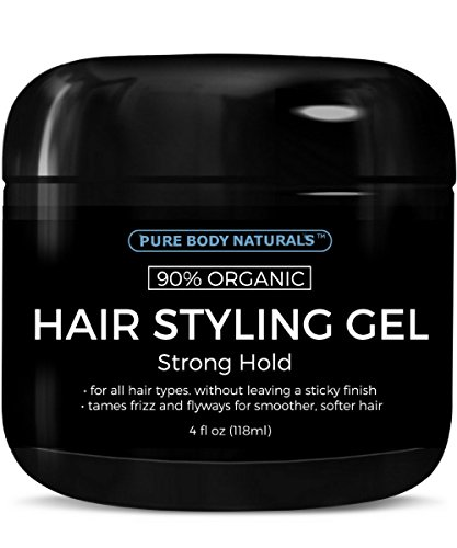 - Strong Hold Hair Gel for Men, Chemical Free with Hydrating Aloe For Shiny Healthy Hair by Pure Body Naturals, 4 Fl Ounce