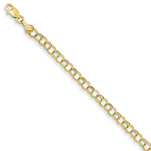 - 14k Yellow Gold Double Link Charm Bracelet 7 Inch Fine Jewelry Gifts For Women For Her