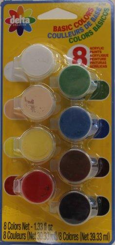 Delta Creative Paint Set with 8 Ceramcoat Acrylic Paint Colors (0.166 Fluid-Ounce) Each, 3052 Basic
