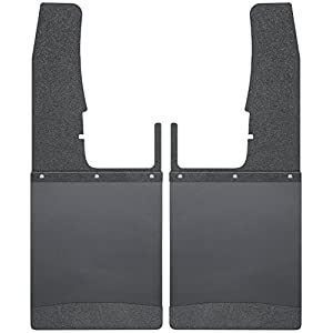 Husky Liners Kick Back Mud Flaps Front 12IN - Black Top/Wt Fits 09-18 Ram 1500