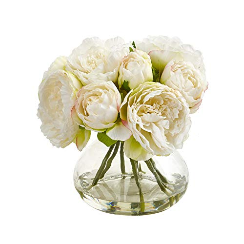 (Nearly Natural 1940-WH Peony Artificial Vase Silk Arrangements, White)