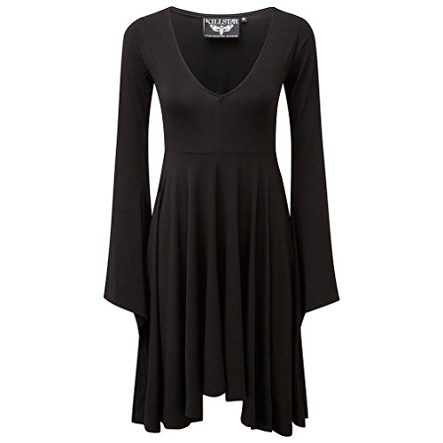 Langarm Dress Sleeve Nocturne Kleid Gothic Killstar Schwarz Damen Angel Midi tTAqY4w8Y