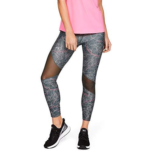 Under Armour Women's HeatGear Armour Ankle Crop Print Leggings, Jet Gray (012)/Metallic Silver, Small