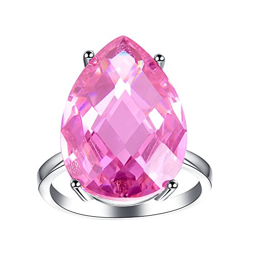 ZENI Rings for Women Pink Sapphire Rings 925 Sterling Silver Rings Jewelry (Sterling Silver Pink Stone Ring)