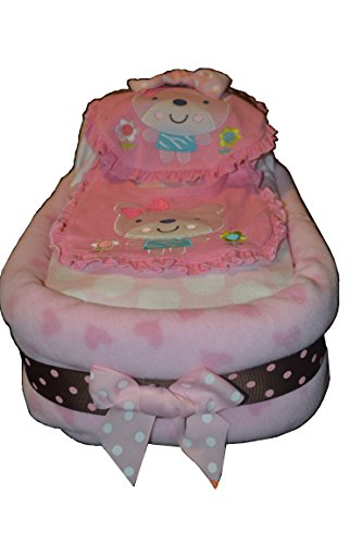 Large Pink Baby Girl Diaper Cake -Pink & Brown Carriage Diaper Cake, Large Diaper Bassinet, Diaper Stroller, Baby Shower Centerpiece/ New Baby Gift/ Welcome Baby Gift - Blue or Green Also Available