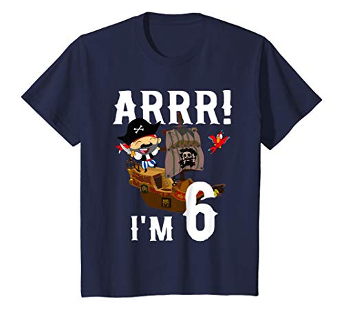 (Kids 6 Year Old Pirate Birthday Shirt ARR 6th Party Gift)