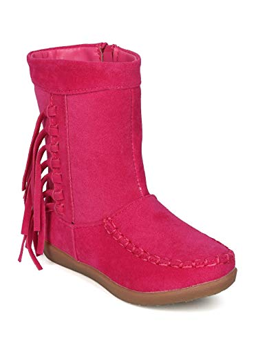 Alrisco Girl (Little Girl/Big Girl) Faux Suede Fringe Moccasin Boot- IA66 by Jelly Beans - Fuchsia Faux Suede (Size: Little Kid - Bean Girl Jelly