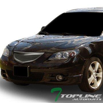 Topline Autopart Matte Black JDM Sport Aluminum Mesh Front Hood Bumper Grill Grille Cover Conversion 04-06 Mazda 3 Mazda3 4D 4Dr 4 Door Sedan